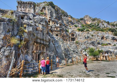 Demre Antalya Turkey - august 28 2014: Ancient town of Myra in Lycia region of Anatolia modern day Turkey boasts a number of breathtaking ruins including Acropolis on Demre-plateau.