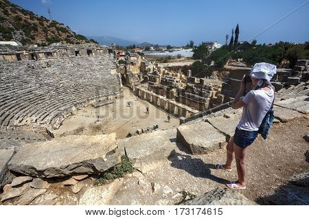 Demre Antalya Turkey - august 28 2014: Ruins of ancient Greek-Roman amphitheatre in Myra Lycia Demre Turkey.