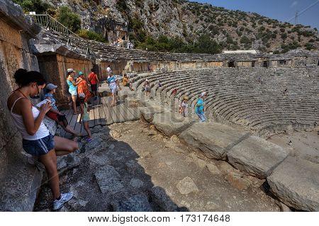 Demre Antalya Turkey - august 28 2014: Ancient Greek-Roman Amphitheatre Myra Lycia region Demre-plateau.