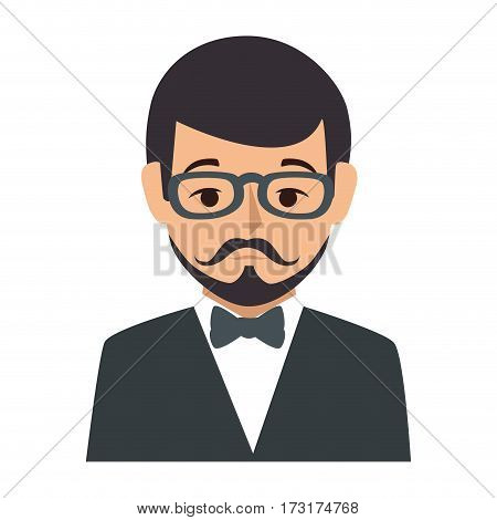 colorful silhouette half body man formal style with mustache vector illustration