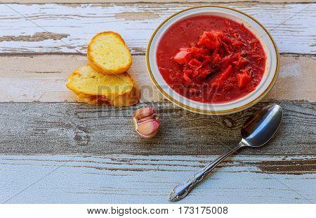 Traditional Ukrainian Borsch With Sour Cream