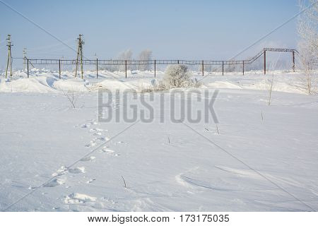 The Road In Snow. It Is Expensive In The Winter Under Snow.