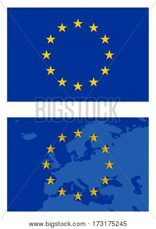 Vector europe flag and map isolated on white background