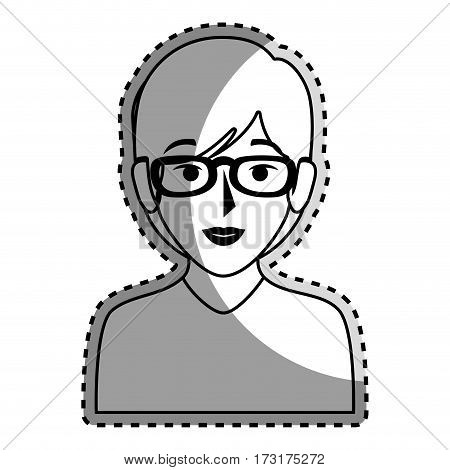sticker silhouette of half body woman with short hair and glasses vector illustration