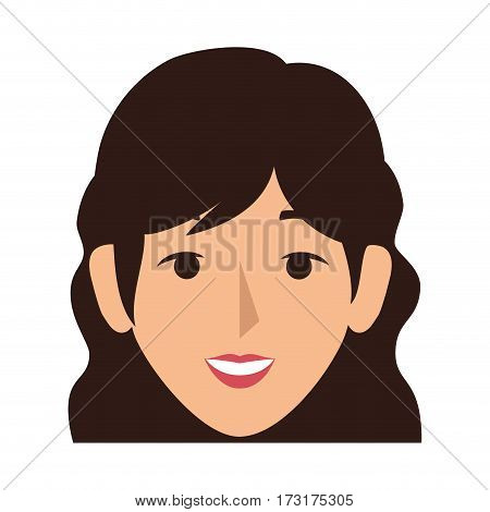 colorful silhouette front view woman with wavy hair vector illustration