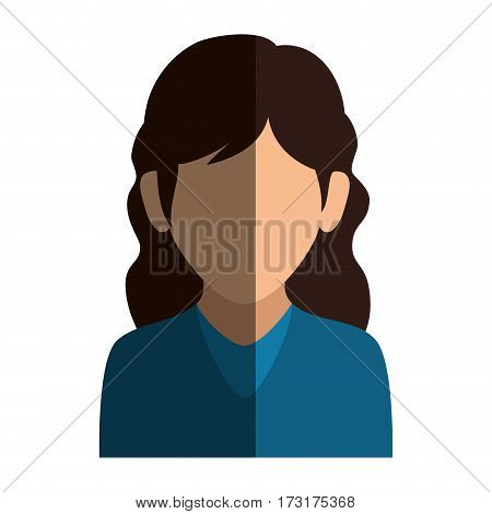 colorful silhouette faceless half body woman with wavy hair vector illustration