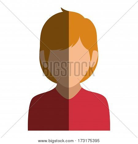 colorful silhouette faceless half body woman with blond hair vector illustration
