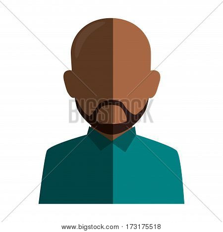 colorful silhouette faceless half body brunette bald man with beard vector illustration