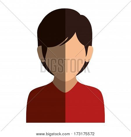 colorful silhouette faceless half body woman with short hair vector illustration
