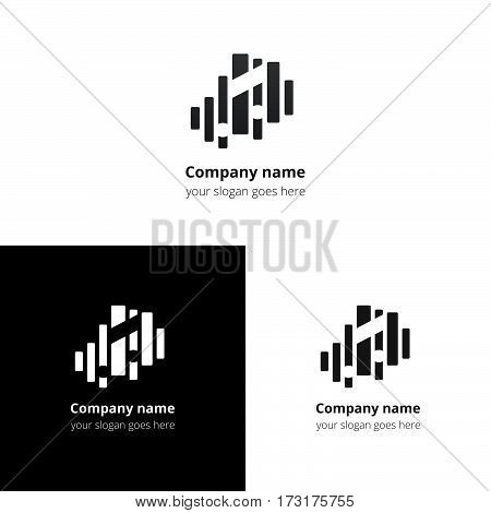 Music note and equalizer beat background flat logo icon vector template. Abstract symbol and button with black-grey gradient for music service or company.