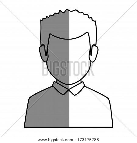 silhouette faceless half body man with t-shirt vector illustration