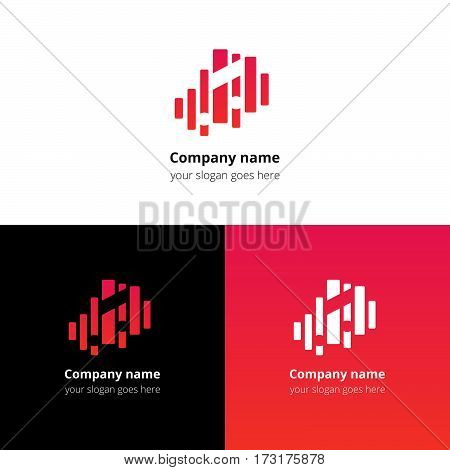 Music note and equalizer beat background flat logo icon vector template. Abstract symbol and button with red-pink gradient for music service or company.