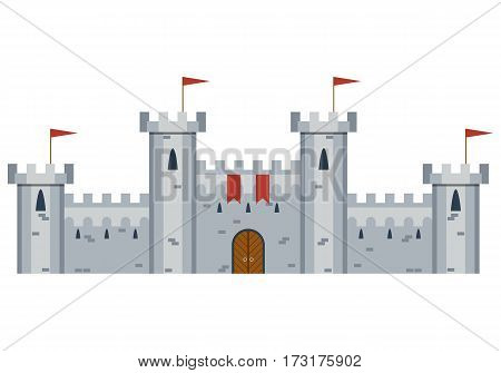 Illustration of a medieval castle. white background, old stronghold. Flat style vector illustration