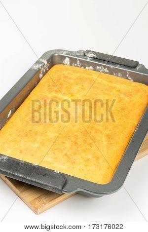 Cornbread Mixture Ready For Oven