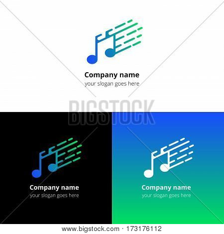 Music note and fast motion beat flat logo icon vector template. Abstract symbol and button with blue-green gradient for music service or company.