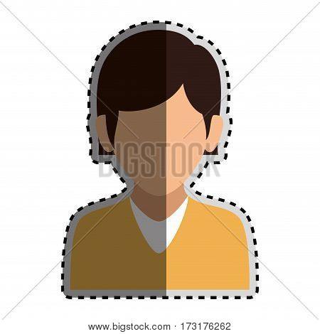sticker colorful silhouette faceless half body woman with straight short hair vector illustration