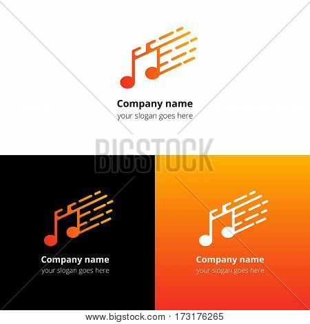 Music note and fast motion beat flat logo icon vector template. Abstract symbol and button with yellow-orange gradient for music service or company.