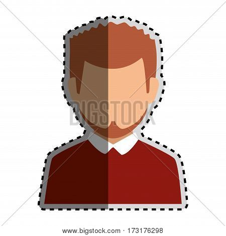 sticker colorful silhouette faceless half body man with beard vector illustration