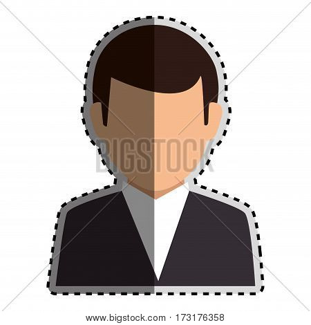 sticker colorful silhouette faceless half body man formal suit vector illustration