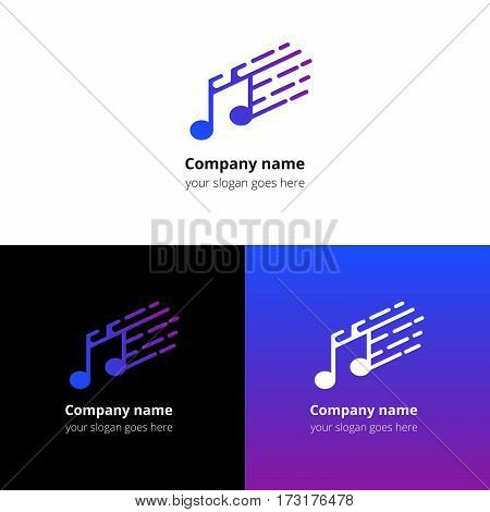 Music note and fast motion beat flat logo icon vector template. Abstract symbol and button with blue-violet gradient for music service or company.