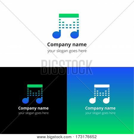 Music note beat blue-green gradient and white flat logo template. Vector icon for music company.