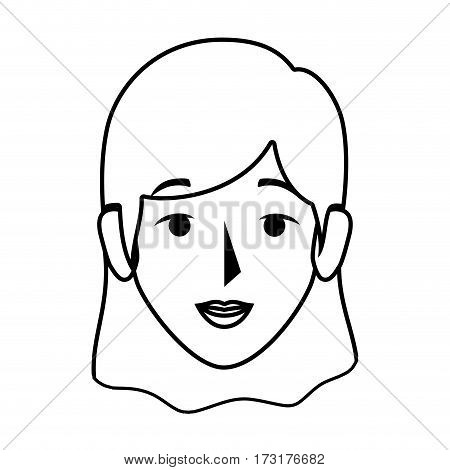 silhouette front view woman with straight short hair vector illustration