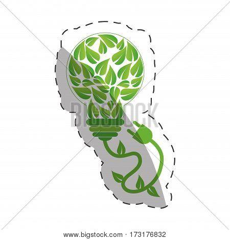 environment leaves shape bulb design vector illustration eps 10