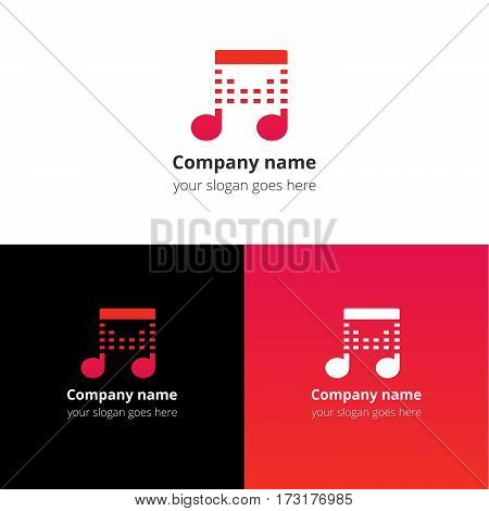 Music note beat red-pink gradient and white flat logo template. Vector icon for music company.