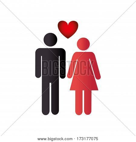 color pictogram with couple and heart among them vector illustration