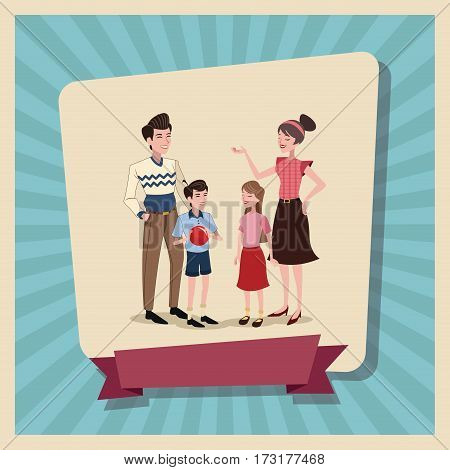 family happy poster vector illustration eps 10