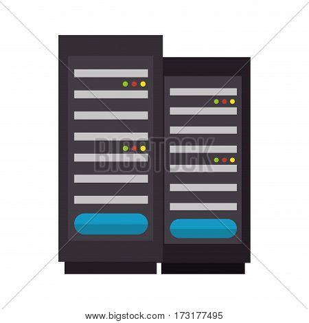 color silhouette with tower server vector illustration