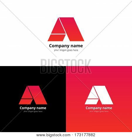 Letter A logo icon flat and stock vector design template. Decoration character with trend light red-pink gradient color on white and black background. Minimalism creative symbol in elements.