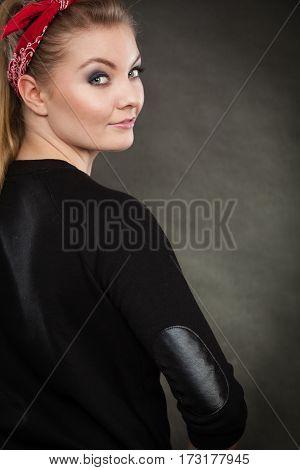 Portrait Of Retro Pin Up Girl In Red Handkerchief.
