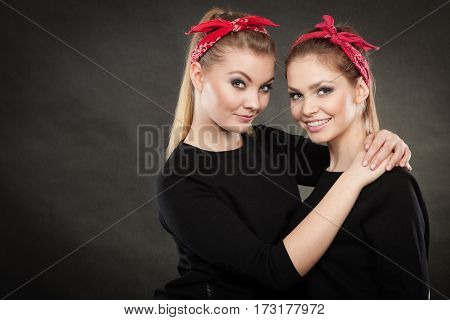 Loving Sisters In Retro Pin Up Stylization.