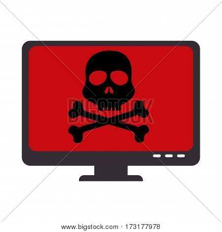 color silhouette of lcd monitor with virus skull and bones on screen vector illustration