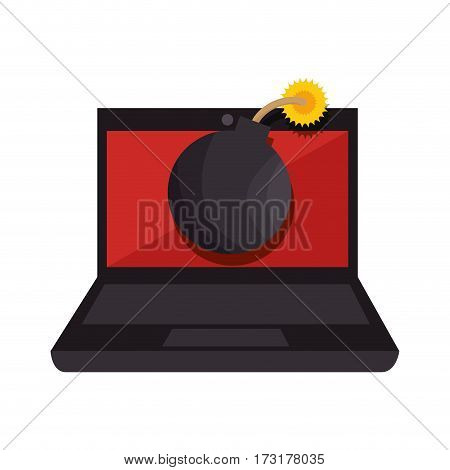 color silhouette of laptop computer with virus bomb on screen vector illustration