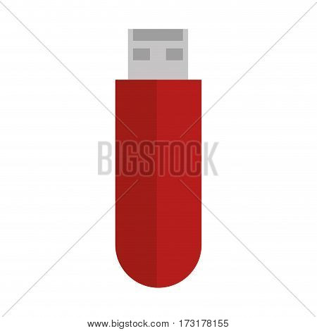 colorful silhouette with usb stick vector illustration