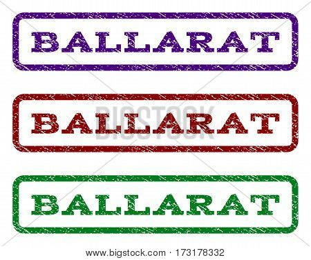 Ballarat watermark stamp. Text tag inside rounded rectangle frame with grunge design style. Vector variants are indigo blue red green ink colors. Rubber seal stamp with scratched texture.