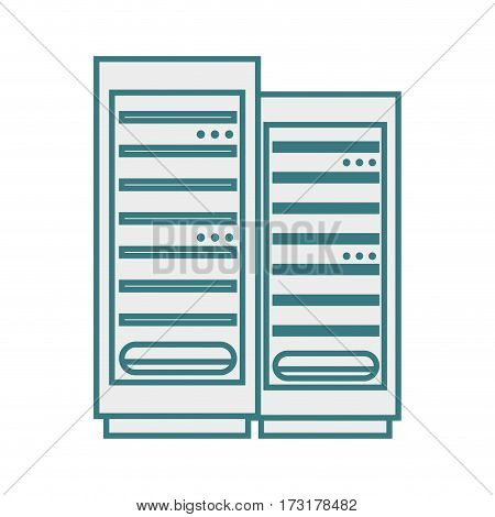 monochrome contour with tower server vector illustration