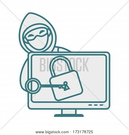 monochrome contour with hacker and lcd monitor with padlock vector illustration
