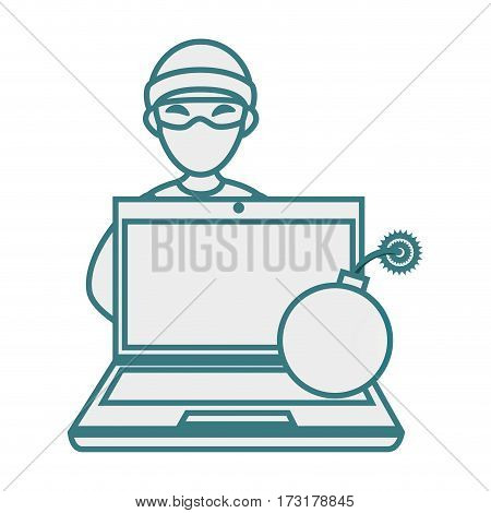 monochrome contour with hacker and laptop and bomb vector illustration