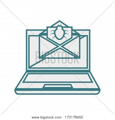 monochrome contour with laptop computer and virus mail vector illustration