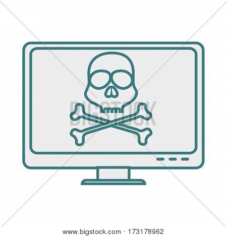 monochrome contour with lcd monitor with virus skull and bones on screen vector illustration