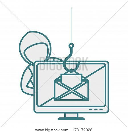 monochrome contour with hacker stealing mail information vector illustration