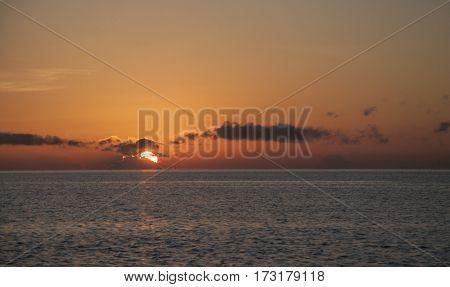Sunrise scenery from Ruby Lagoon Dive Lodge at Tebah Batang,Lahad Datu, Sabah, Borneo.