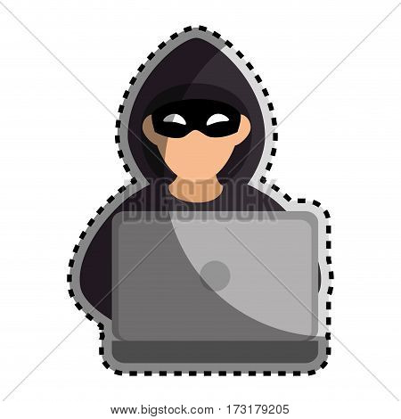 sticker color silhouette with hacker and laptop vector illustration