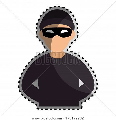 sticker color silhouette with criminal hacker vector illustration