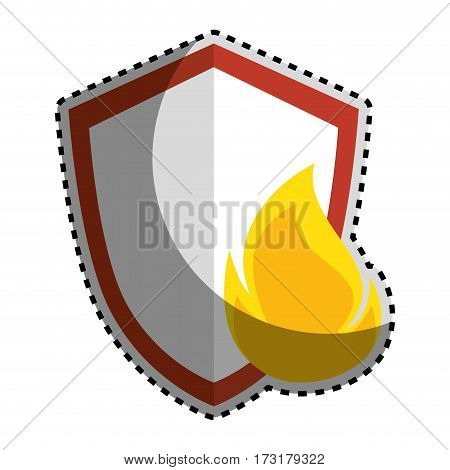 sticker color silhouette emblem of shield with flame vector illustration