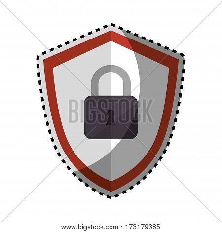 sticker color silhouette emblem of shield with padlock vector illustration
