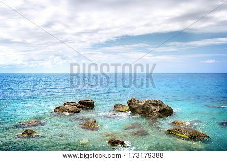 Big rocky stones in the Black sea